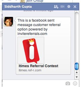 Facebook send message Customer referral option - invitereferrals