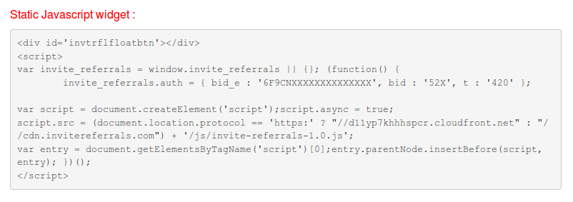 InviteReferrals Integration code