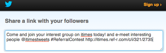 Tweet customer referral option