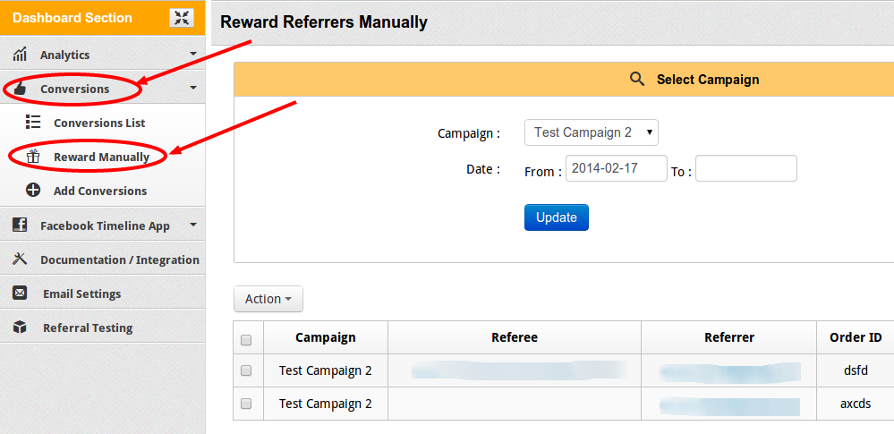 InviteReferrals - Manually manage campaigns