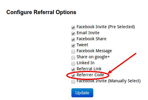 Include Referrer Code - InviteReferrals