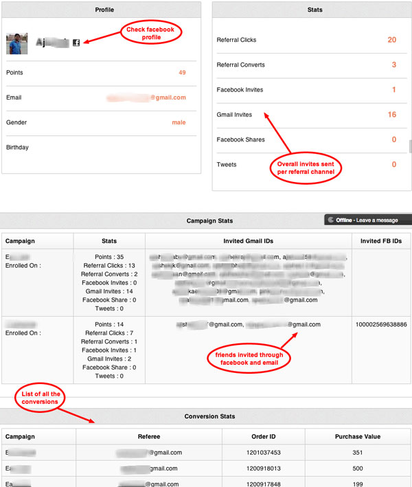 Referral analytics data at Customer level