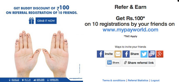 Mypayworld Referral Program to increase registrations