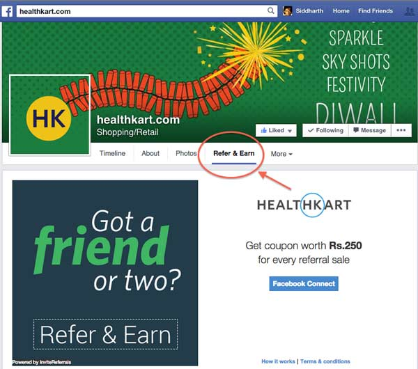healthkart-facebook-referral-application