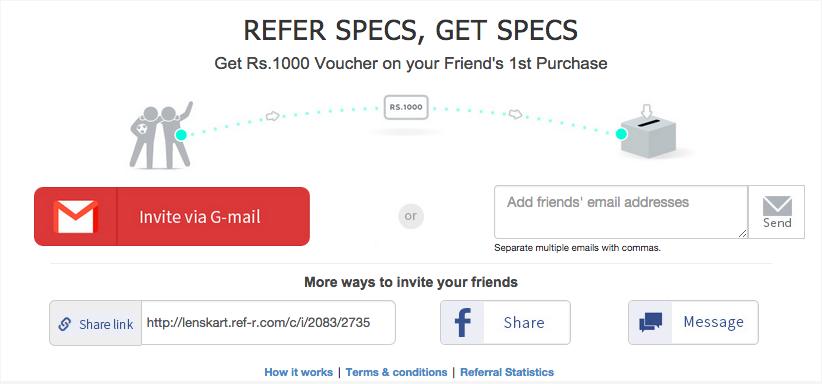 Lenskart refer a friend campaign