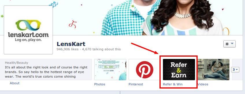 Lenskart refer a friend facebook application