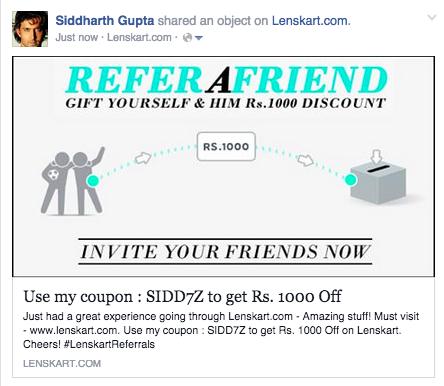 Lenskart refer a friend facebook share