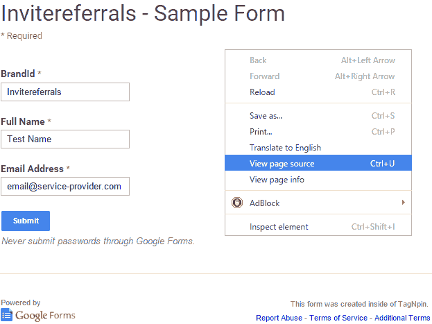 Employee Referral Program. Sample Form