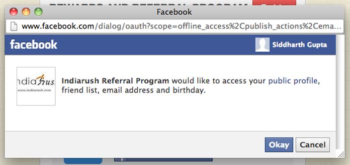 Facebook Referral App