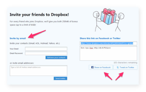 dropbox referral cards